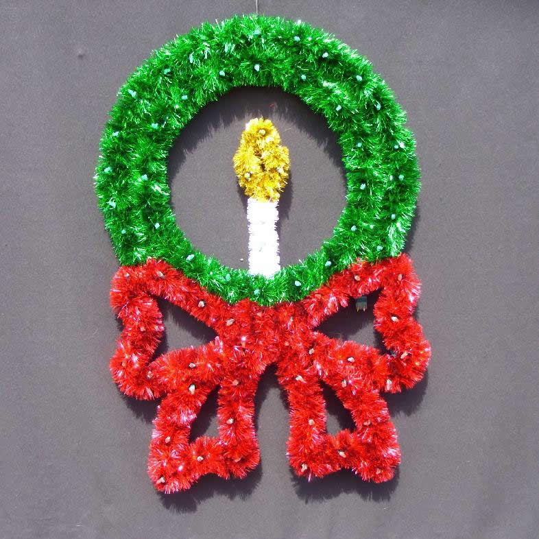 Wreath with Bow and Candle Pole Mount